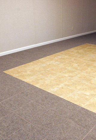 Basement flooring tile in joliet naperville aurora for Good carpet for basement floors